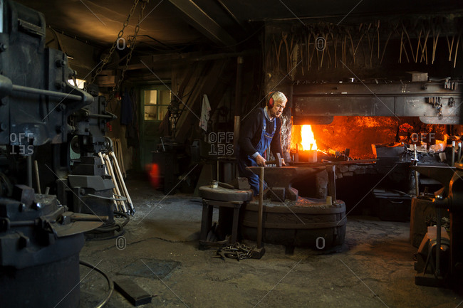 Blacksmith at work, Josefsthal, Bavaria, Germany