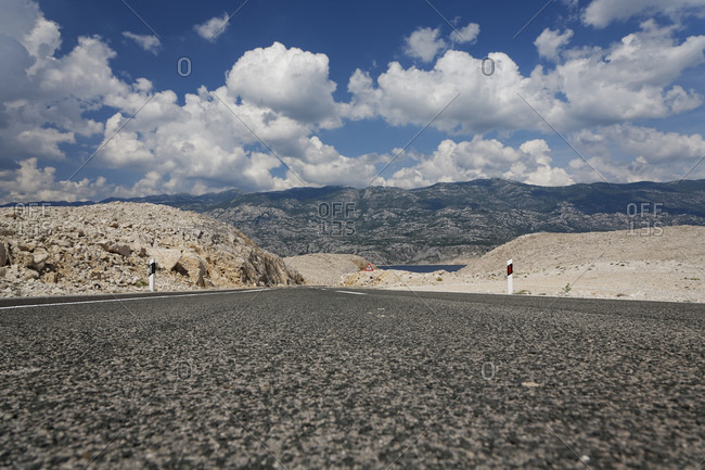 Coastal road on Pag Island Croatia