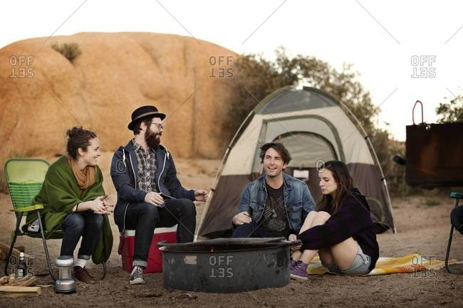 Friends camping in a desert