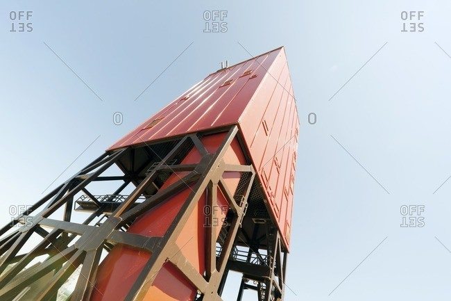 Mast of drilling rig, low angle view