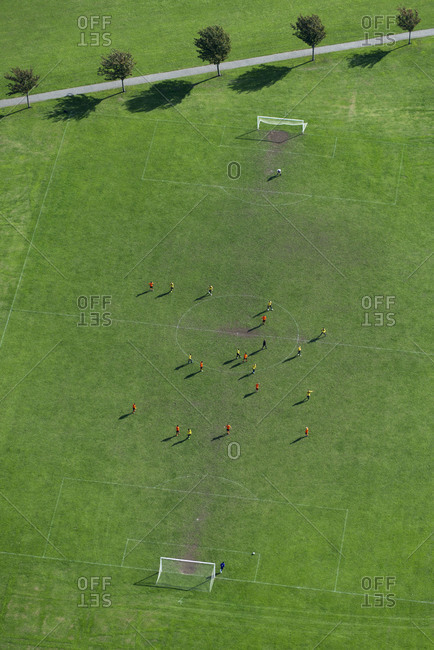 An aerial view of a football match in Regents Park in north London