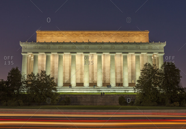 Lincoln Memorial illuminated at night the west facade