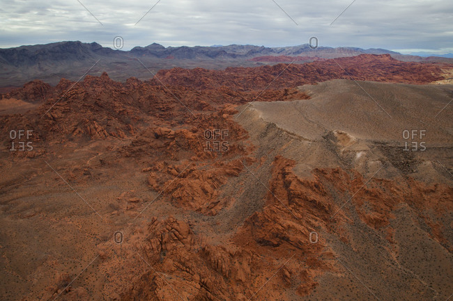 Flying above the Valley of Fire state park in the Mojave Desert, Nevada