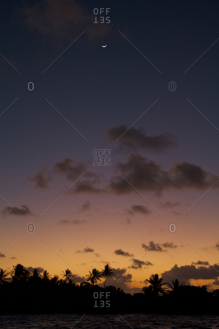A sliver of a crescent moon sits above the atoll's palm trees after sundown on Ahe atoll.