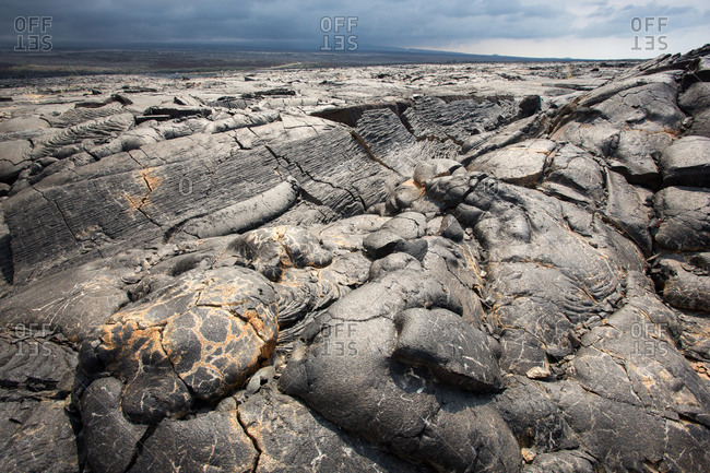 Looking across an ancient lava field.