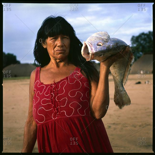 Mato Grosso, Brazil - May 23,2014: Woman of the Kamayura tribe in the Xingu region of the Amazon