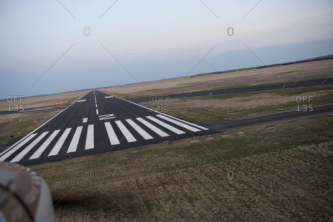 The runway at a rural airport in Nebraska