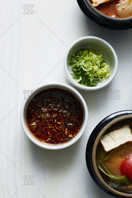Top view of kimchi with relish