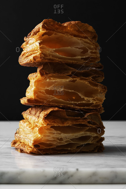 Pieces of puff pastry stacked on each other