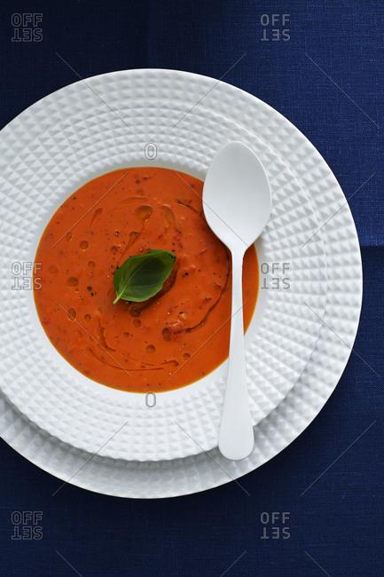 Italian tomato soup with basil