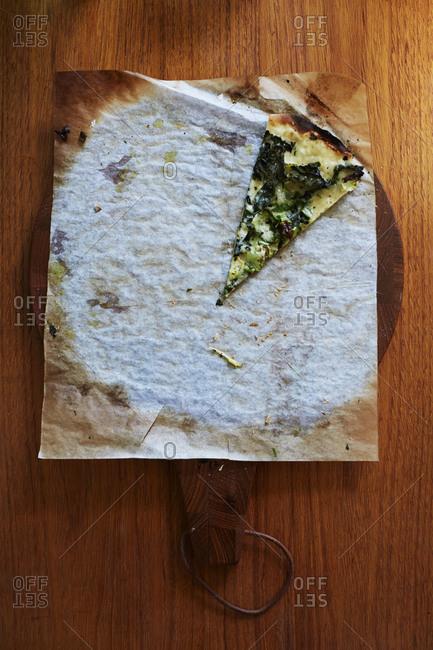 Slice of vegetarian pizza