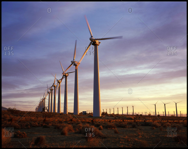 Large field of wind turbines at the Tehachapi Pass Wind Farm in the western edge of California's Mojave Desert