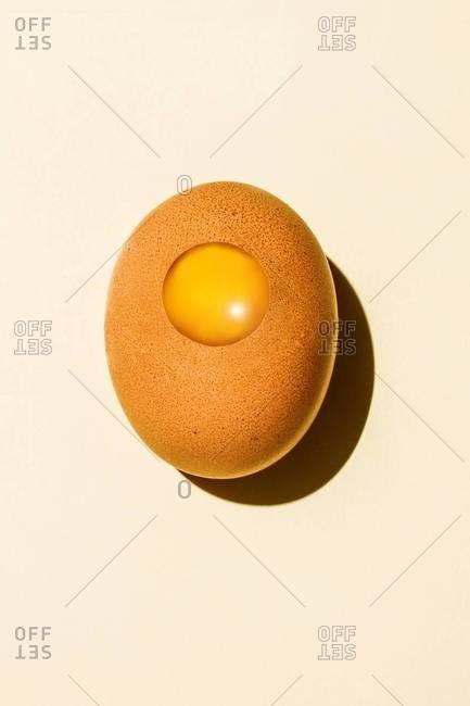 Yolk superimposed over eggshell