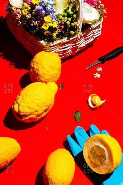 Lemons and wildflower basket