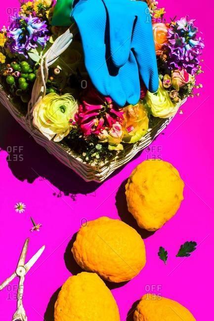 Wildflower basket and lemons