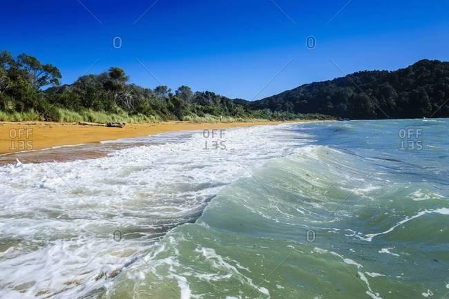 Long sandy beach, Abel Tasman National Park, South Island, New Zealand, Pacific