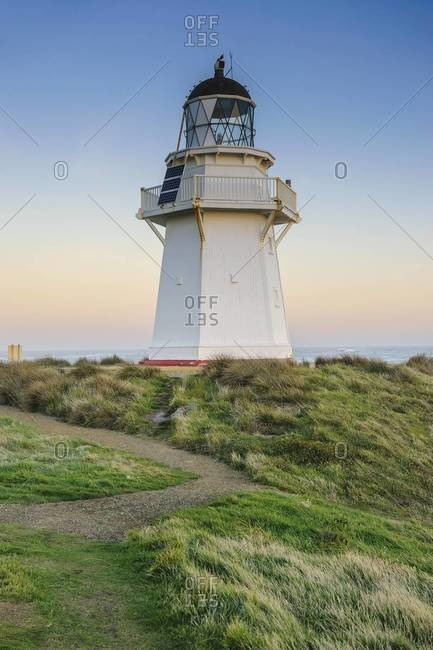 Waipapa Point Lighthouse at sunset, the Catlins, South Island, New Zealand, Pacific