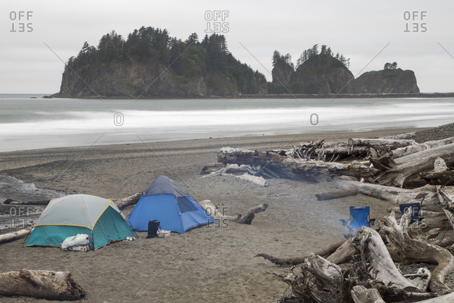 Two camping tents set on a beach surrounded by driftwood