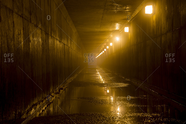 View of an empty lit tunnel