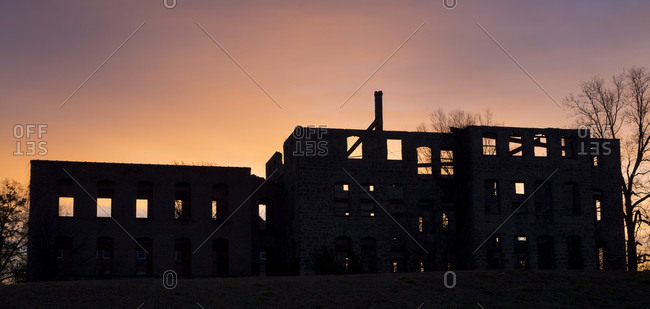 Silhouette of abandoned St. Augustine Hospital, North Carolina