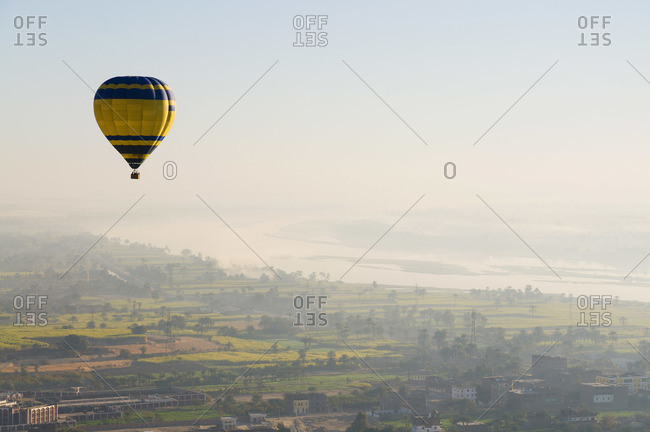 Hot air balloon over the west bank of Luxor