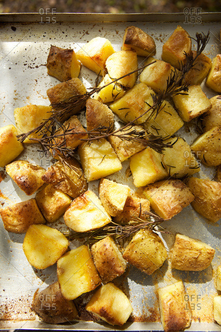 Overhead view of roast potatoes