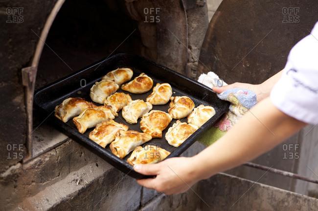 Tray of oven baked empanadas