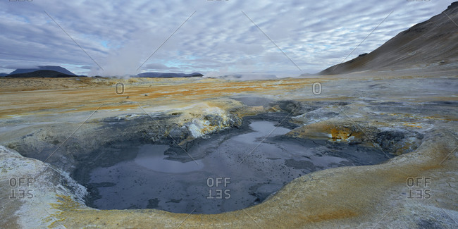 Geothermal hot spring at Namaskard, close to Lake Myvatn in north Iceland