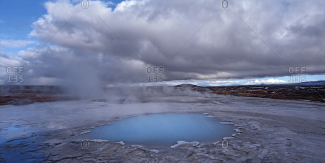 Geothermal hot spring at Hveravellir in central Iceland on the Kjolur route
