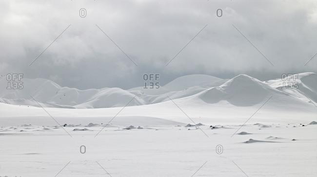 Mountain range close to Landmannalauga on Fjallabak in the winter, Iceland