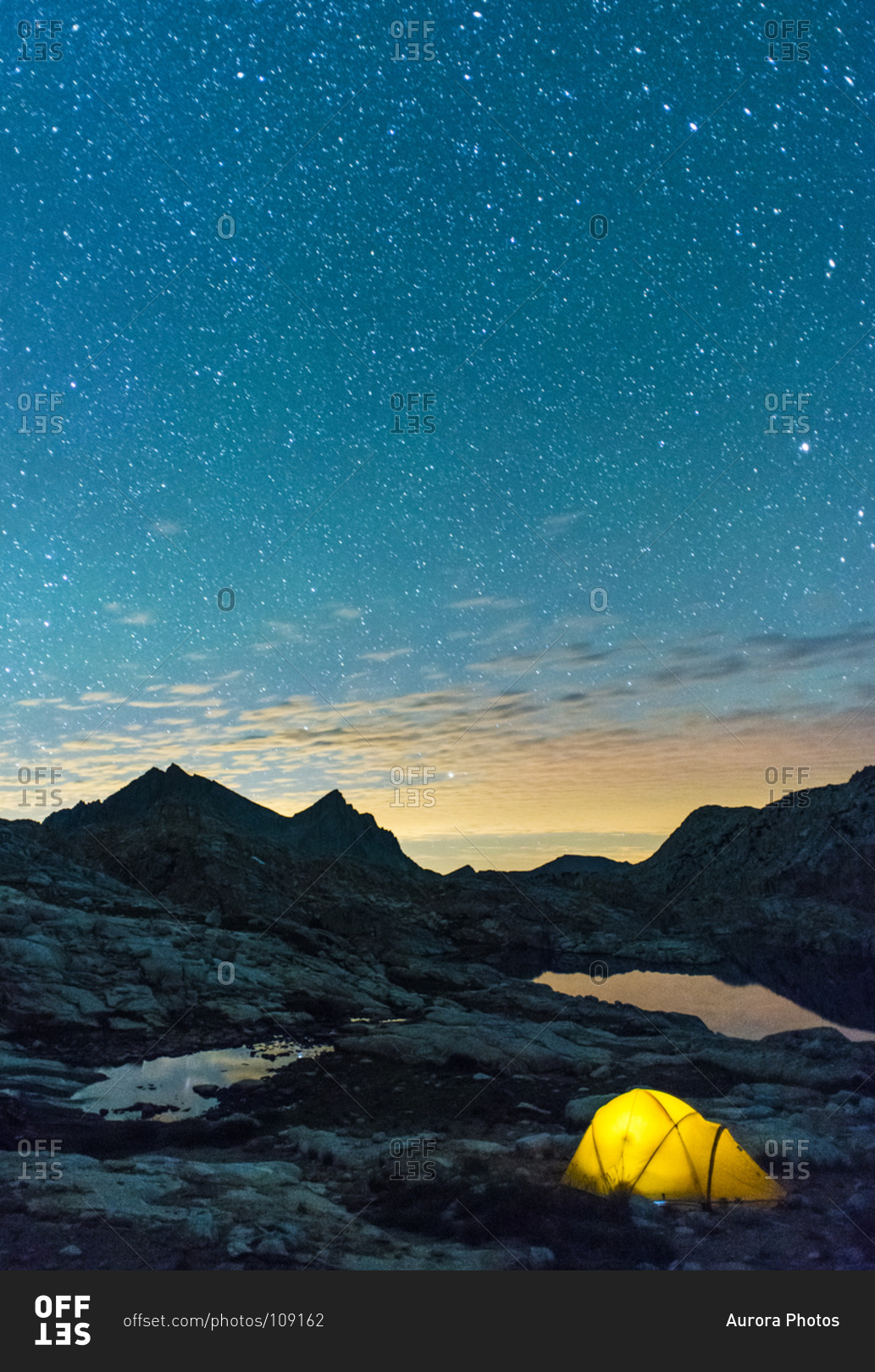 Glowing tent under the starry sky at Bear Lakes in High Sierra California USA & Glowing tent under the starry sky at Bear Lakes in High Sierra ...