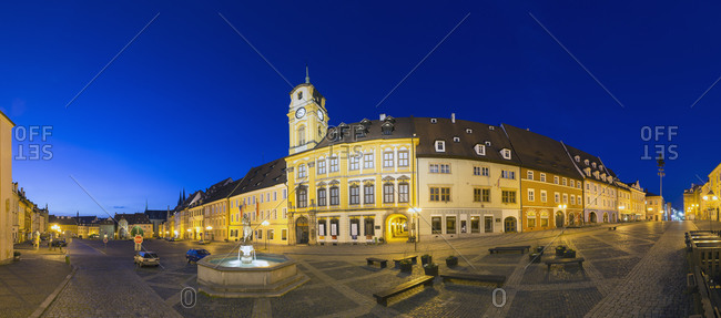 View of market square with new town hall at night, Cheb, Czechia