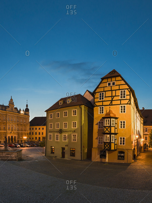 Czechia, Cheb, view of market square with Spalicek at night