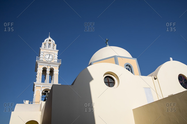 View to Holy church of John the Baptist, Thera, Santorini, Cyclades, Greece