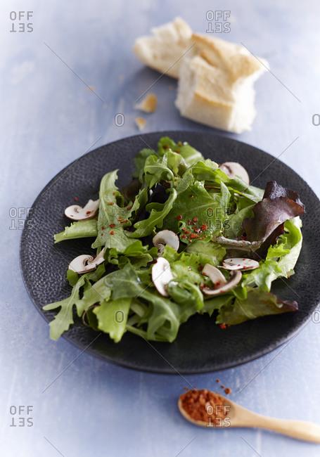 Lettuce and mushroom salad on plate