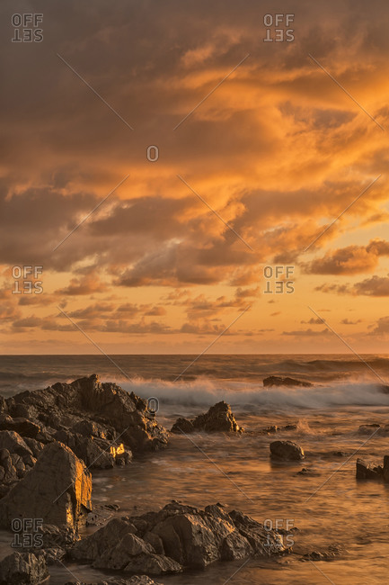 Sunrise at the rocky shore of Hastings Point, Tweed Shire, New South Wales, Australia