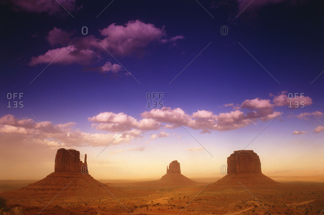 Landscape of The Mittens in Monument Valley, Colorado
