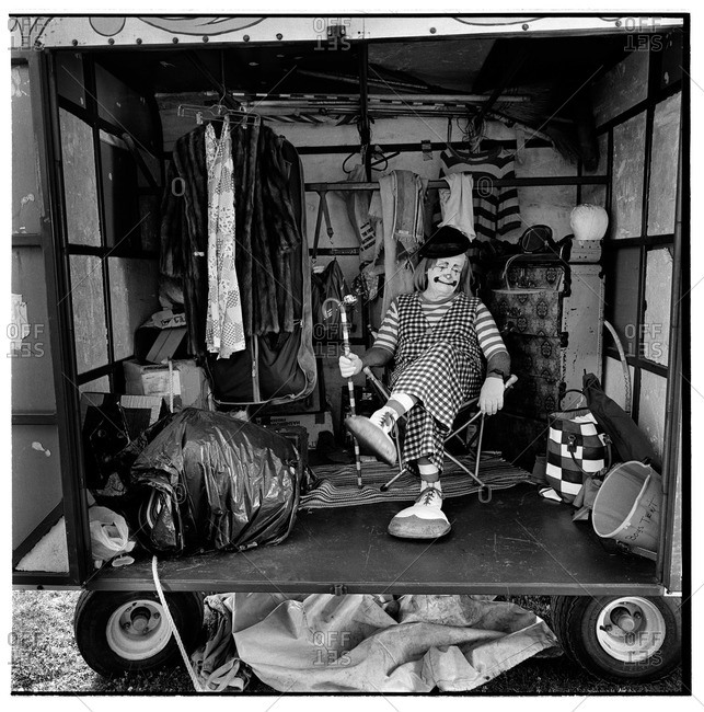 Edmonds, Washington - 1994: Clown sitting inside a dressing room before the show of the Wenatchee Youth Circus