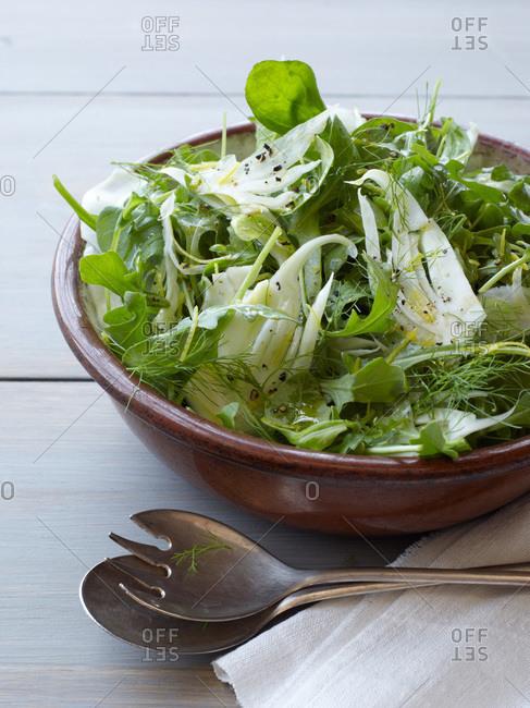 Fennel-arugula salad in a bowl