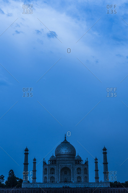 View of the Taj Mahal at twilight in India