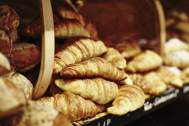 Fresh croissants for sale in shop