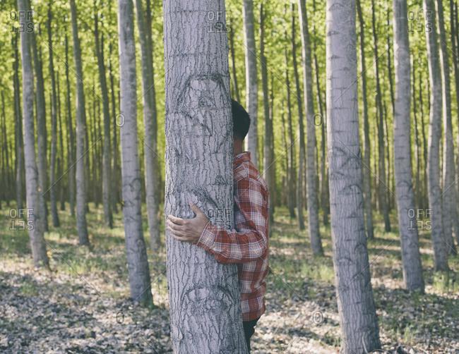 Man hiding behind a cottonwood tree