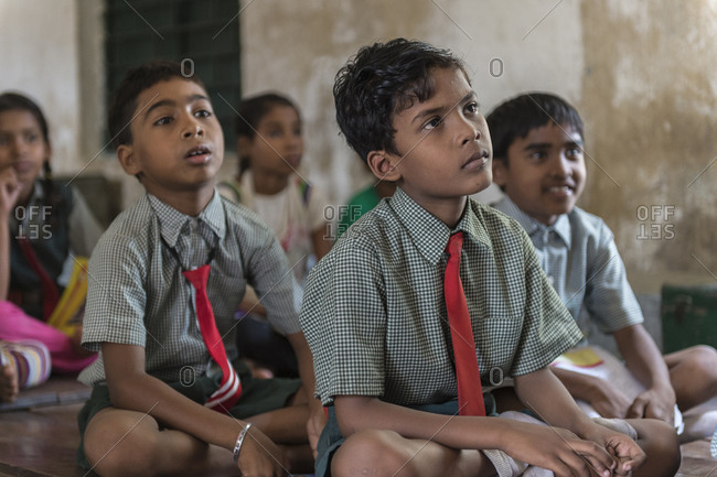 Orissa, India - May 2,2014: Kids in a small private school for deaf children in India