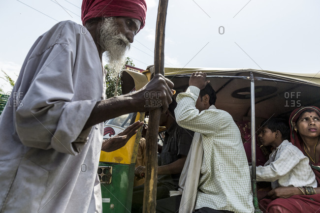 Agra, India - May 5,2014: Bustling street life