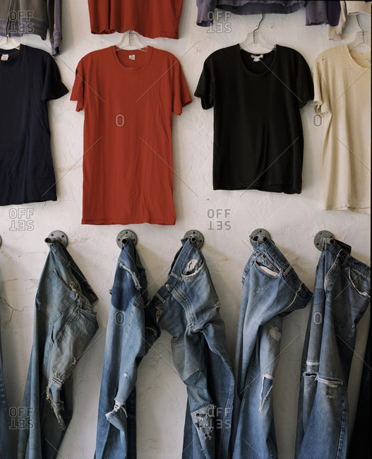 T-shirts and jeans on display