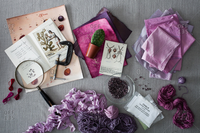 Overhead view of craft items
