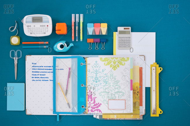 Overhead view of a neatly organized desk