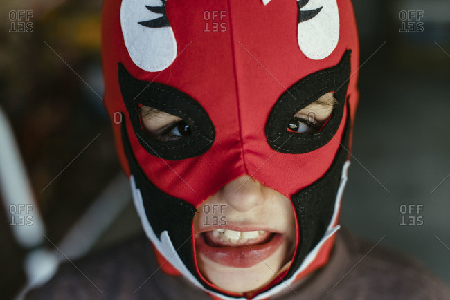 Close up of boy wearing a costume