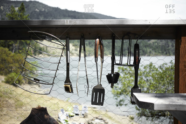 Grilling tools hanging outside