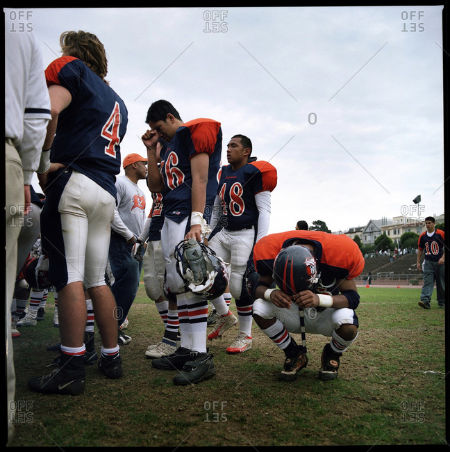 San Francisco, USA - November 29, 2005: Disappointed American football team